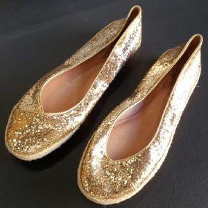 Seychelles gold glitter ballet flats size 6